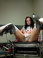 Hot nurse sex! Nipples clamped w/surgical while the brush pussy is pounded, & gyno bench spreads the brush wide for fucking w/inflatable, pulsing ardent cock.