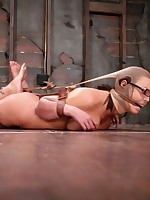 Pretty submissive put through several strict ties
