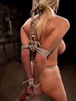 Tit torture and bondage for big-breasted blonde