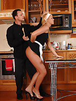 Blonde maid humiliated and spanked by boss