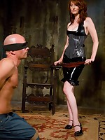 Elegant latex Mistress Kendra beats attendant pal respecting his limits and violates his ass