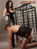 Disobedient slaveboy is confined to cage