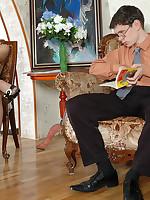 Sexy lady puts her hose-clad feet in boyfriend's crotch
