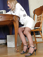 She smokes and loves a spanking; he loves her legs clad in hose