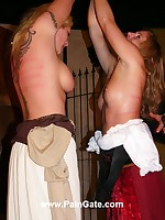 Two pretty blondes whipped in dungeon