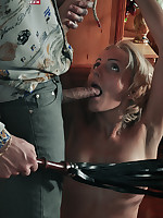 Submissive girl is tied, tormented and whipped on the first date