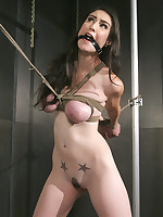 Slavegirl spread open with rope and forced to cum