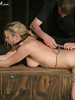 Sexy blonde gets rope bondage