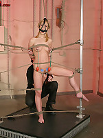 Blonde gets collared, leashed, tied to a folding chair