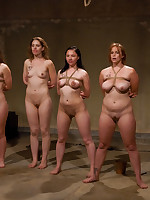 Four slavegirls undergo a fierce training session