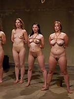 Four slavegirls undergo a fierce training session