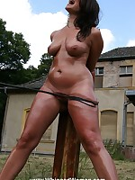 Tied to a post and pussy-whipped outdoors
