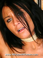Brunette tied to a post and pussy whipped