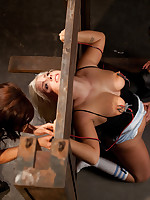 Electrified pussy torture for blonde submissive