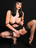 Emily Marilyn gothic brunette good-luck piece goddess hot action close to spry fashioned stockings