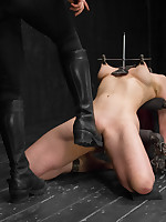 Nerine is ungenerous rookie so Clair gives her 3 challenging positions. This pain floosie takes it all: The cane, single-tail, clamps, hard fucking..