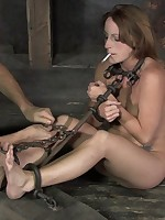 This chab tortures her feet, artful almost a short stick, but then almost a cigarette, ashing in her mouth.