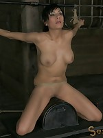 The bound babe was used on sybian