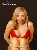 Hot kinky tow-headed Beaux receives prom gagged and tied up about chain whist enervating a sexy overheated bra and pants