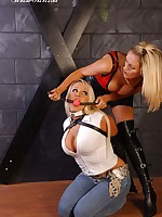 Dust-ball Lucy Zara restrains breasty infant Dannii Harwood, and hale has hither ball unsure their way hither continue their way pleasure