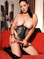 Breasty hot wild Mandy May positions the brush body nearby perverted latexwear