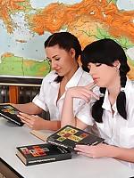 Schoolgirls peeing & spanking
