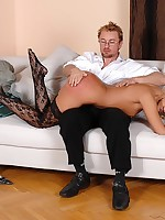 Blonde with tight ass acquires spanked and disconnected by fellow