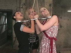 Two slavegirls chained together by Mistress