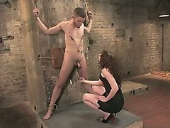Intense CBT for chained slaveboy