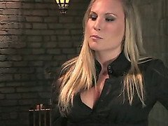Slaveboy caned, clamped and pegged by Mistress