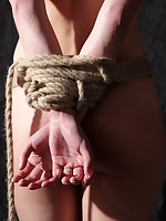 Hot blond student as a sufferer of Japanese rope bondage bondage
