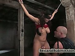 Blindfolds and breast bondage for submissive girl.