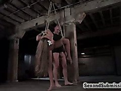 Obedient submissive bound in rope and fucked.