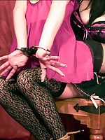 Deception is tied to a chair and cleave-gagged