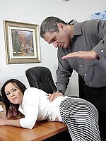 Office girl in hose bent over the desk and spanked by boss