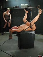 Blonde mistress ensures obedience through flogging, CBT, ass worship