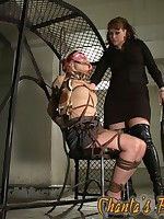 Beautiful blonde bound and spanked by Mistress