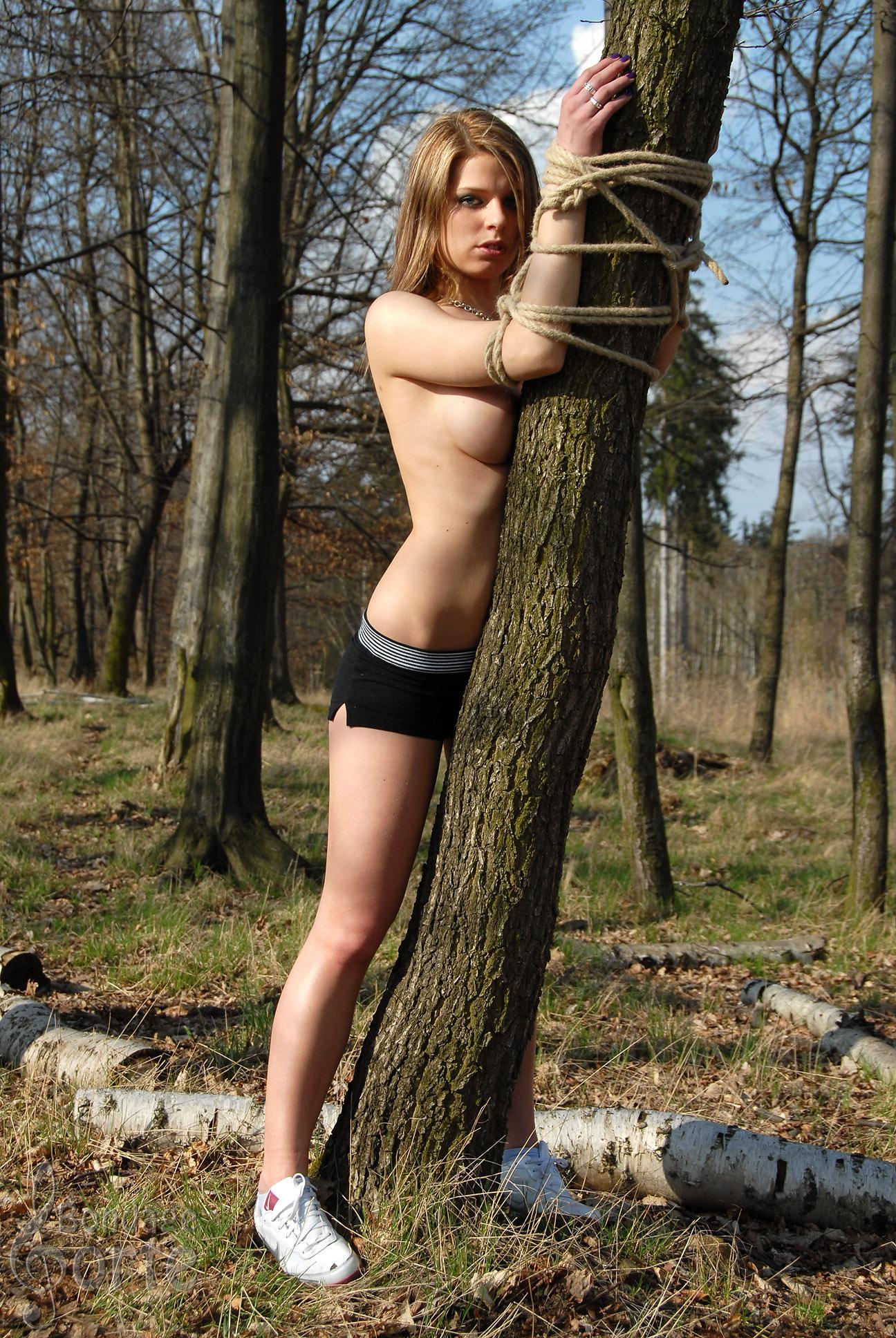 Связал девушку в лесу 9 фотография