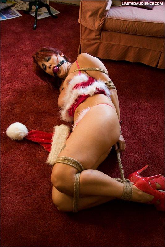 Naked woman tied to tree bondage
