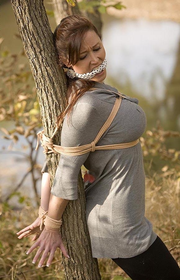 Black girl tree bondage