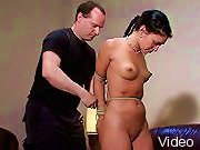 BDSM Movies Hottie excited in bondage and