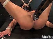 Bodybuilder Lynn McCrossin (PecPanther) bound and made to cum