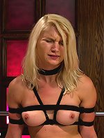 Blond girl tied up and machine fucked until she begs for it to stop. The Sybian rips orgasms from her wet pussy in a love/hate pleasure overload.