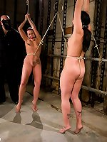 BDSM Two cuties in bondage act and