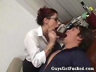 Guy gets strapon ass fucked in office
