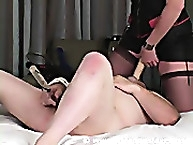 Strapon Slaves. Trained to suck