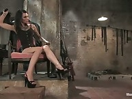 Wicked dominatrix chains up slaveboy then milks him of all..