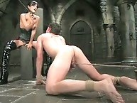 Slave eat cum off mistress' tits