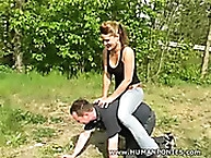 Hard human ponies carrying sexy girl on his back