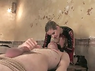 Gorgeous dominatrix villein coach electrocutes and..
